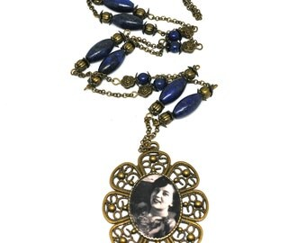 Necklace cabochon, Tattoo Blues theme, semprecieuses Lapis Lazuli stones