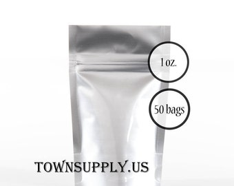 50 - 1 oz silver foil stand up pouches, food safe packaging supply, small shiny resealable ziplock bags, recloseable coffee favor bag