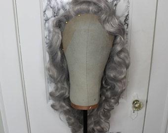 Silver Gray Vintage Hollywood Deep Wave Prestyled Wig - Drag Queens, Cosplay, Performers