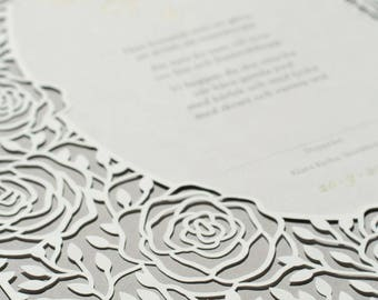 ROSES paper-cut christening or baptism heirloom