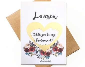 Personalised scratch to reveal - Will you be my Bridesmaid / MOH?