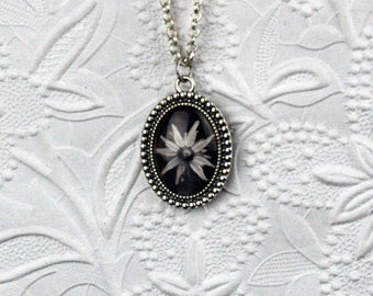 Dotted Oval Black and White Flower Photo Necklace Photo Jewelry Flower Necklace Flower Jewelry