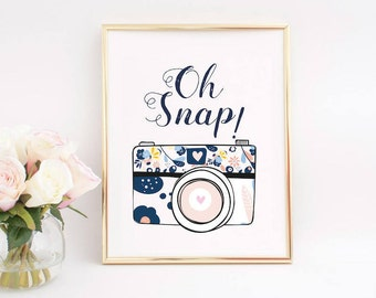 Camera Print, Photography Print, Photographer Gift, Camera printable, Camera Wall Art, Photography Prints, Cameras with Flowers, Oh snap.