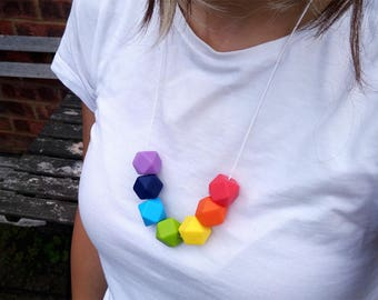 Gay Pride Necklace | Pride Flag | Rainbow Necklace | LGBT Necklace | LGBT | Gay Pride | Gay Pride Jewellery | Silicone Necklace | Teething