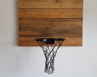 Rustic Wood Basketball Hoop. Reclaimed Wood Basketball Backboard and Rim Wall Mount