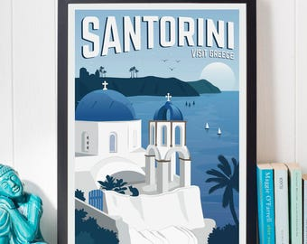 Santorini Vintage Travel Poster, Travel, Decoration, Wall Art, Printable Poster, Greece