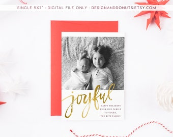 Christmas Photo Card, Holiday Printable, Gold Foil Christmas Photo Card, Greeting, Printable [x1]