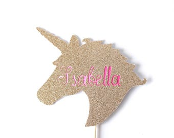 Unicorn with ombré name cake topper