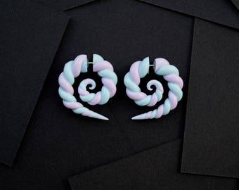 Spirals fake gauge earrings sweet purple and blue candys lollipops fake plugs fake gauges
