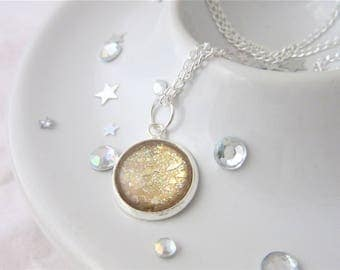 Gold Metallic Round Glitter Nail Polish Cabochon Necklace on 18 Inch Silver Plated Chain, Gold Flakies, Ladies Gift, Treasure, Mothers Day