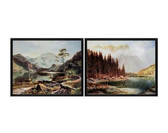Set of 2 - Vintage 19th Century American Outdoor Art, Tranquil Mountains & Cattle Grazing by a Lake, Canoe, Fishing, Expansion, Conservation