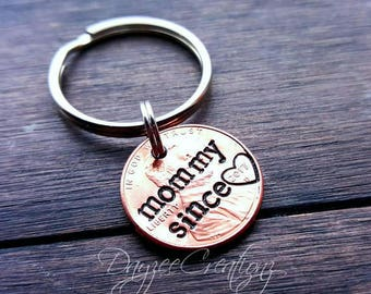 Custom Mommy Since Lucky Penny Keychain, New mommy, Christmas Gift, Mom, Stocking Stuffer, First Mother's Day, Personalized, From Child