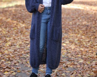 Chunky Knit Cardigan/ Loose Oversized Knit Cardigan/ VilotBlue Cardigan/ Long Cardigan/ Oversized Chunky Knit Sweater/ Knitted Long Cardigan