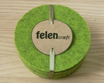 Coasters, Green, 5mm thick, Bar Mats, Wool felt, Set of 4, 6, 8, Handmade, Table protection, Simple design