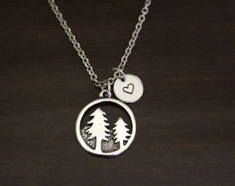 Pine Tree Necklace - Pine Tree Jewelry - Pine Tree Charm Gift - Pine Tree Lover - Outdoors Lover Necklace - Forest Necklace - I/B/H