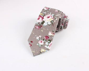 """Taupe (Gray) Floral Skinny Tie 2.36""""