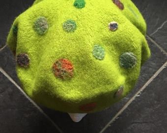 Bright Green Beret With Multi-Coloured Wet-Felted/Needle-Felted Spots