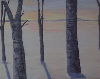 Woodland Sunset Acrylic landscape painting