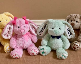 Easter gifts for baby etsy personalized easter bunny kids stuffed animal plush rabbit easter basket embroidered ear bunnies negle Images