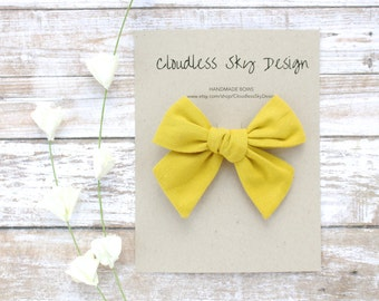 hair bows, yellow bow, girls hair bow, school hair bow, hair bow for girls, baby hair bow, fall bow, yellow bow clip, tied bow