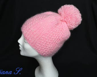 Bobble, Pink, with mohair, one size