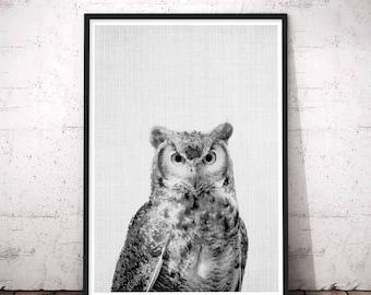 Woodland owl print, printable owl art, owl art printable, owl wall print, owl wall decal, owl wall art print, minimalist owl print art, Owl