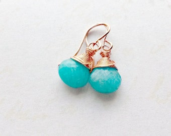 Amazonite Earrings Aqua AA Gemstone Turquoise Earrings Gifts for Her Gold Wrapped Jewellery