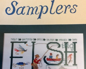 Oberlin cross stitch sampler, fishing Sampler, fishing cross stitch sampler, fishing stitching chart, vintage cross stitch pattern