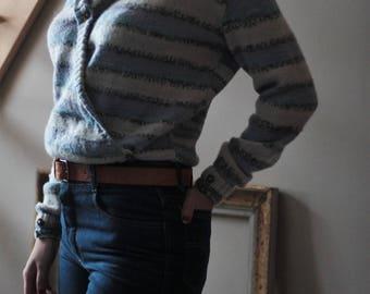 Soft sweater Cardigan shawl collar, purple hand made women sweater, the 80's handmade white cross