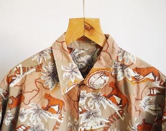 80's shirt 80's 90's Vintage Shirt Novelty print Panter Savanna Short sleeve Holidays Resort shirt large xlarge size