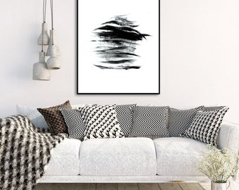 Black and White Wall Art, Abstract Art Print, Minimalist Painting, Instant Download Printable Art, Digital Download Wall Art Prints