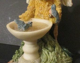 "Teddy  Bear   Angel Figurine  1994 /  ""Bruin & Bluebirds""  /  "" Nuture  Nature "" / United Designs  /  Teddy Bear  Knick knack / Ornament"