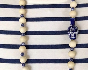 Chinoiserie Beaded Necklace | dragon, chunky, blue and white, gold, Designs by Laurel Leigh