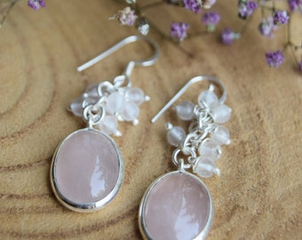Rose Quartz Earrings, Sterling Silver Earrings, Boho Earrings, Gift for women, Handmade Jewelry, Rose Quartz Jewelry, Delicate Earrings