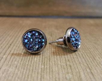 Indigo/Navy Druzy Stone Earring - faux druzy, handmade, ONE pair. Nickel free, hypoallergenic
