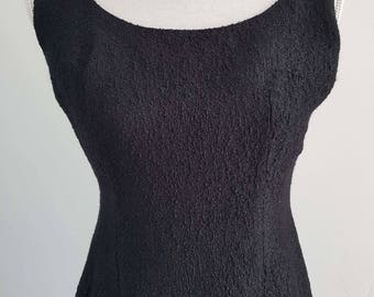1950's Vintage Black Textured Wiggle Dress
