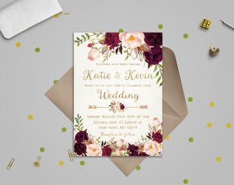 Revered image in etsy printable wedding invitations