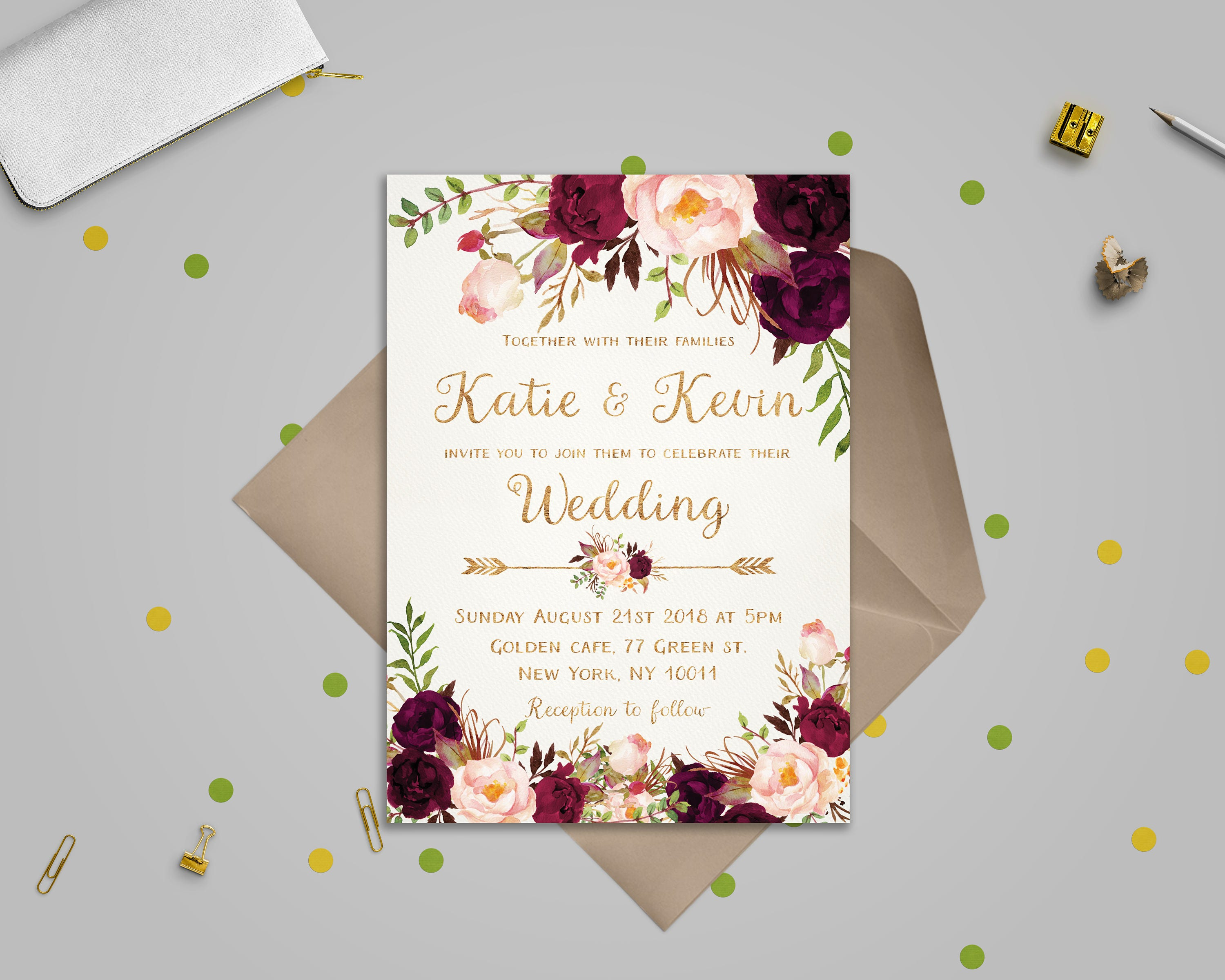 Invitation Wedding Card: Floral Wedding Invitation Template Wedding Invitation