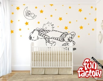 calvin and hobbes wall decal etsy. Black Bedroom Furniture Sets. Home Design Ideas