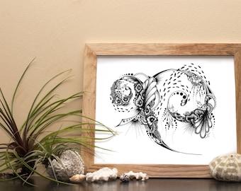 Underwater Escape - Drawing - Underwater Illustration - Artprint - Design Poster - Print