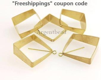 best seller 10pcs 15mmRaw Brass 3D Rhombus Charm ,cut raw brass tube outline charm in rhombus 3d square geometric shape AGBRA619/AG255