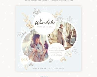 Winter Mini Session Template, Photography marketing, Photoshop template, Square Winter template, Family photography, Winter Session Template