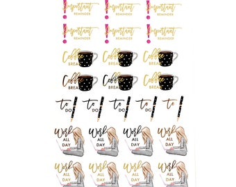 Working,To Do,Reminder Stickers//Foiled Functional Stickers!//SINGLE SHEET//F01
