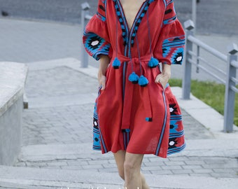 Red linen embroidered dress vyshyvanka. Ukrainian vyshyvanka dress, mexican dress, Kaftan, Abaya, Caftan. Free Shipping Boho style