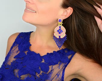Purple Fashion Earrings,  Fashion Jewelry,  Fashion Earrings, Lace Earrings, Chandelier Earrings, Handmade Earrings, Statement Earring