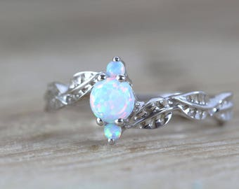 White Opal Leaf Engagement Ring, Opal Leaves Ring, Vine Ring, Opal Leaf Ring, Natural Floral Engagement Ring, Dainty Opal Vintage Ring