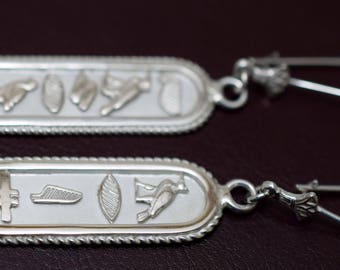 Put YOUR NAME in hieroglyphic Silver Earrings CARTOUCH Many colors and design