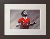 MO SALAH wall art - giclee print of 'Mo Salah' original acrylic painting by Stephen Mahoney - the amazing winger in his first season at LFC