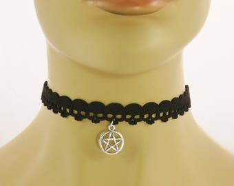 Pentagram Star Silver-Tone Pendant on Black Skull Pattern Choker Necklace goth gothic emo wicca ladies womens jewellery accessory UK SELLER
