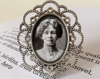 Emily Pankhurst  Brooch - Emmeline Pankhurst Jewelry, Suffragette Pin, Heroine Brooch, Feminist Jewellery, Vintage Emily Pankhurst Pin